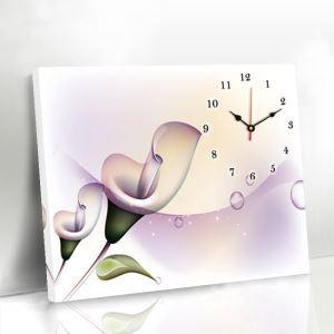 壁掛け時計 壁絵画時計 静音時計 キャンバス時計 壁飾り オシャレ 1枚パネル オランダカイウ