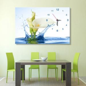 壁掛け時計 壁絵画時計 静音時計 キャンバス時計 壁飾り オシャレ 緑色オランダカイウ 1枚パネル