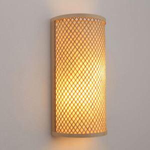 壁掛け照明 ウォールランプ ブラケット 間接照明 玄関照明 和室和風 竹木 手作り編み 半円 1灯 B08