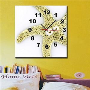 壁掛け時計 壁絵画時計 静音時計 キャンバス時計 壁飾り 1枚パネル ヒトデ