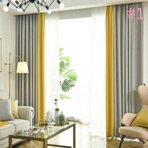 遮光カーテン オーダーカーテン オシャレ 2色スプライス 麻 3級遮熱カーテン(1枚)