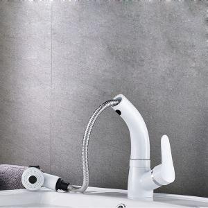 洗面蛇口 スプレー混合栓 洗髪用水栓 ホース引出式 水道蛇口 吐水口昇降 整流&シャワー吐水式 白色