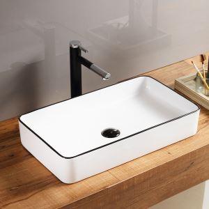 洗面ボール 手洗い鉢 手洗器 洗面ボウル 洗面器 陶器 角型 白色 排水栓&排水トラップ付 60.5cm SK8240