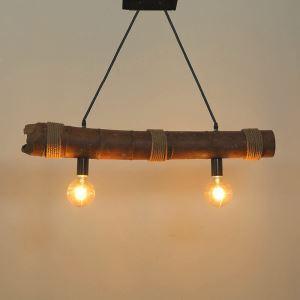 ペンダントライト 照明器具 リビング照明 店舗照明 天井照明 ダイニング 寝室 和室和風 竹木 2灯 竹筒