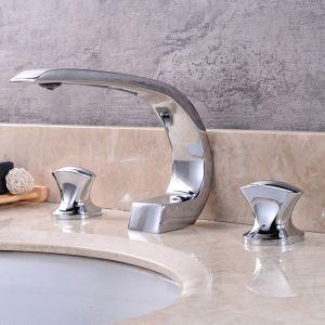洗面蛇口 バス水栓 冷熱混合栓 立水栓 水道蛇口 水栓金具 2ハンドル 弧型 3色