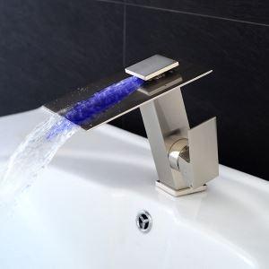 LED洗面蛇口 バス水栓 冷熱混合栓 水道蛇口 立水栓 滝状吐水式 3色