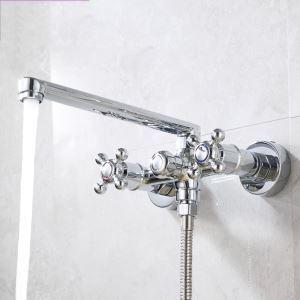 浴室シャワー混合水栓 浴槽蛇口 バス水栓 壁付蛇口 水道蛇口 クロム(ハンドシャワー無し)