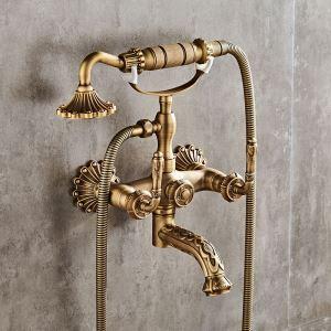 浴室シャワー水栓 バス水栓 ハンドシャワー 蛇口付き 壁付混合水栓 水道蛇口 ブラス色 アンティーク調