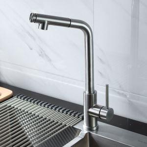 キッチン蛇口 引出し式水栓 台所蛇口 冷熱混合栓 水道蛇口 整流&シャワー吐水式 ヘアライン