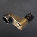 クランク 取付脚 配管用ソケット 延長 水栓部品 黒色/ブラス 2個入り