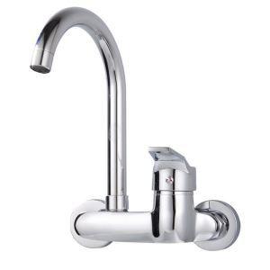 壁付蛇口 キッチン水栓 台所蛇口 冷熱混合栓 シングルレバー 回転可能 クロム