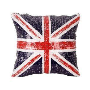 魔法クッションカバー ソファー抱き枕 スパンコール ゴージャス感 DIY反転 イギリス国旗柄 キラキラ KTV バー クラブ