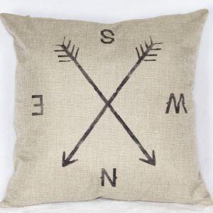 クッションカバー 抱き枕カバー 腰枕カバー 北欧風 リネン コンパス柄