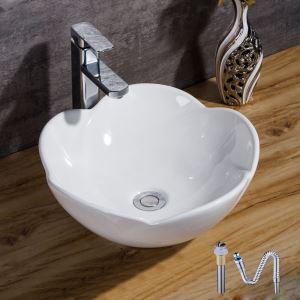 洗面ボール 手洗い鉢 洗面器 手洗器 洗面ボウル 陶器 排水栓&排水トラップ付 花型 和風 39cm