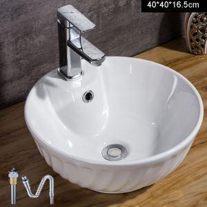 洗面ボール 手洗い鉢 洗面器 洗面ボウル 陶器 排水栓&排水トラップ付 ボール型 蛇口穴付 和風 40cm