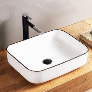 洗面ボール 手洗い鉢 手洗器 洗面ボウル 洗面器 陶器 角型 白色 排水栓&排水トラップ付 50cm SK8218