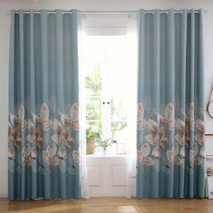 遮光カーテン オーダーカーテン オシャレ 厚地 葉柄 捺染 1級遮熱カーテン(1枚)