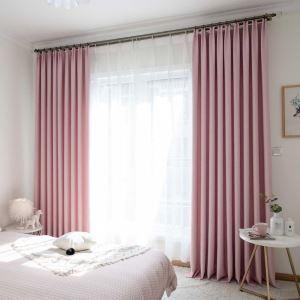 遮光カーテン オーダーカーテン リビング 寝室 ピンク オシャレ 綿麻(1枚)