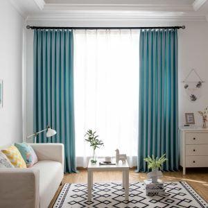遮光カーテン オーダーカーテン リビング 寝室 空色 オシャレ 綿麻(1枚)