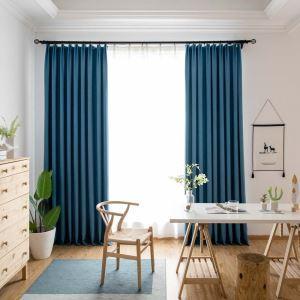 遮光カーテン オーダーカーテン リビング 寝室 青色 オシャレ 綿麻(1枚)