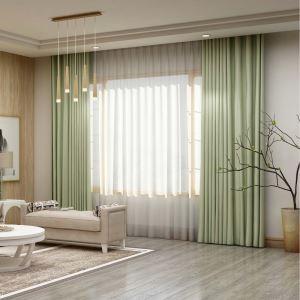 高遮光カーテン オーダーカーテン 寝室用 薄緑色 オシャレ 高精密 断熱 1級遮光カーテン(1枚)