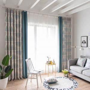 遮光カーテン オーダーカーテン 北欧風 捺染 メタセコイアの葉柄 3級遮熱カーテン(1枚) SS1