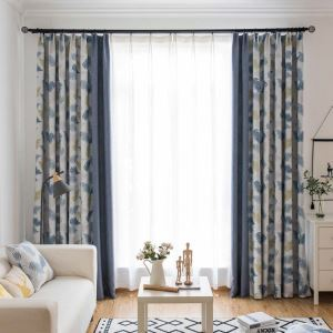 遮光カーテン オーダーカーテン 北欧風 捺染 葉柄 3級遮熱カーテン(1枚) AB1