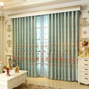 遮光カーテン オーダーカーテン レトロ 刺繍 厚地 シェニール 1級遮熱カーテン(1枚) TY6181