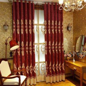 遮光カーテン オーダーカーテン オシャレ 刺繍 厚地 シェニール 1級遮熱カーテン(1枚)