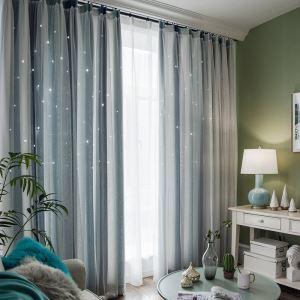 遮光カーテン カーテンレースセット シアーカーテン付 透かし彫り 星 寝室 リビング オシャレ 1級遮光カーテン(1枚)