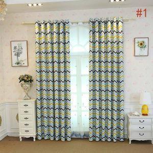 遮光カーテン オーダーカーテン 子供屋 オシャレ 波柄 捺染 3級遮熱カーテン(1枚)