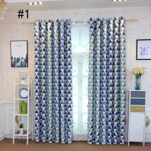 遮光カーテン オーダーカーテン 子供屋 オシャレ 三角形柄 捺染 3級遮熱カーテン(1枚)