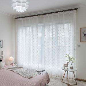 シアーカーテン オーダーカーテン UVカット 白色 オシャレ 刺繍 レースカーテン(1枚)