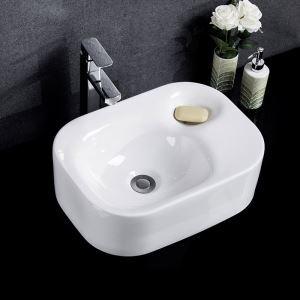 洗面ボール 手洗い鉢 洗面器 洗面ボウル 陶器 排水栓&排水トラップ付 長方形 和風 47cm
