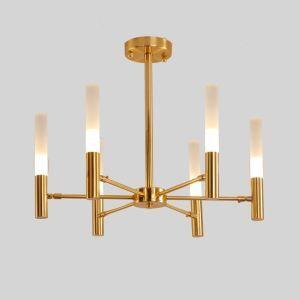 LEDシャンデリア リビング照明 ダイニング照明 寝室照明 黒金色 北欧風 LED対応 6灯/8灯 QM119B
