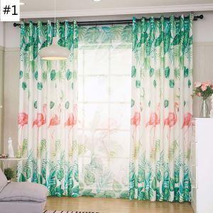 遮光カーテン オーダーカーテン 捺染 フラミンゴ柄 北欧風 オシャレ 3級遮熱カーテン(1枚)