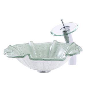 洗面ボウル&蛇口セット 手洗鉢 洗面器 強化ガラス製 排水金具付 オシャレ 連の花型 BWY19011