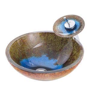 洗面ボウル&蛇口セット 手洗鉢 洗面器 強化ガラス製 排水金具付 オシャレ 丸型 レトロ BWY19015