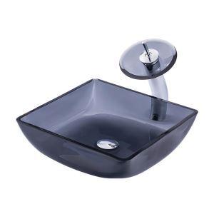 洗面ボウル&蛇口セット 手洗鉢 洗面器 強化ガラス製 排水金具付 オシャレ 灰色 角型 BWY19022