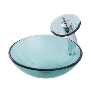 洗面ボウル&蛇口セット 手洗鉢 洗面器 強化ガラス製 排水金具付 オシャレ F緑 丸型 BWY19024