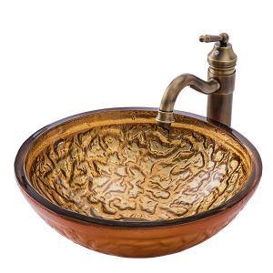 洗面ボウル 手洗い鉢 洗面器 手洗器 洗面ボール 排水金具付 オシャレ 豪華柄 丸型 BWY19026