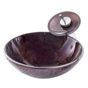 洗面ボウル&蛇口セット 手洗鉢 洗面器 強化ガラス製 排水金具付 オシャレ 木目柄 丸型 BWY19027