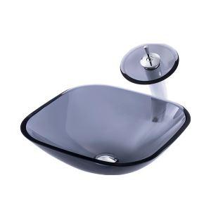 洗面ボウル&蛇口セット 手洗鉢 洗面器 強化ガラス製 排水金具付 オシャレ 正方形 灰色 BWY1707