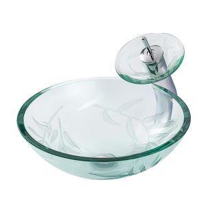 洗面ボウル&蛇口セット 手洗鉢 洗面器 強化ガラス製 排水金具付 オシャレ 透明 竹柄 丸型 BWY17169