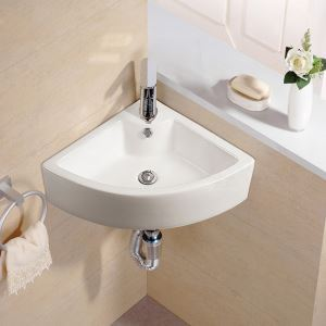 壁掛洗面ボール 手洗い鉢 洗面器 陶器 壁付 排水栓&排水トラップ付 三角型 蛇口穴付 和風 33cm