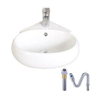 壁掛洗面ボール 手洗い鉢 洗面器 陶器 壁付 排水栓&排水トラップ付 三角型 蛇口穴付 和風 38*36cm