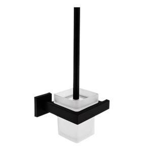 トイレブラシホルダー トイレ用品 トイレブラシ&ポット付き 真鍮 黒色