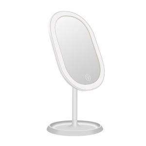 LED付き化粧鏡 卓上ミラー 無段階調光 タッチセンサー 充電式 180°回転 20灯 4W