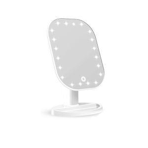 LED付き化粧鏡 卓上ミラー 調光 タッチセンサー 充電式 180°回転 20灯 4W 3色