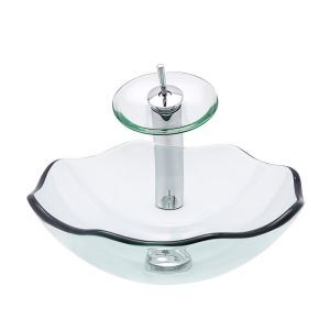 洗面ボウル&蛇口セット 手洗い鉢 洗面器 強化ガラス製 排水金具付 透明
